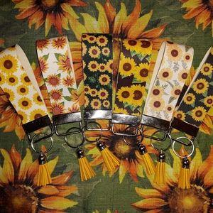 Sunflower Keychain Wristlet
